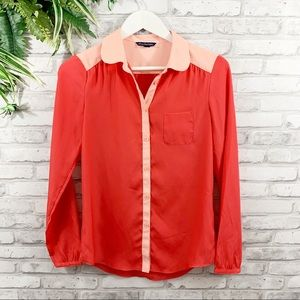 American Eagle • Coral & Pink Button Down Blouse